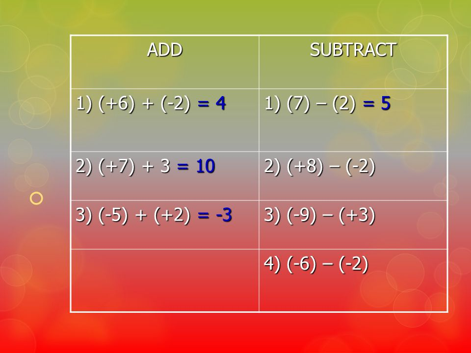 ADD SUBTRACT. 1) (+6) + (-2) = 4. 1) (7) – (2) = 5. 2) (+7) + 3 = 10. 2) (+8) – (-2) 3) (-5) + (+2) = -3.