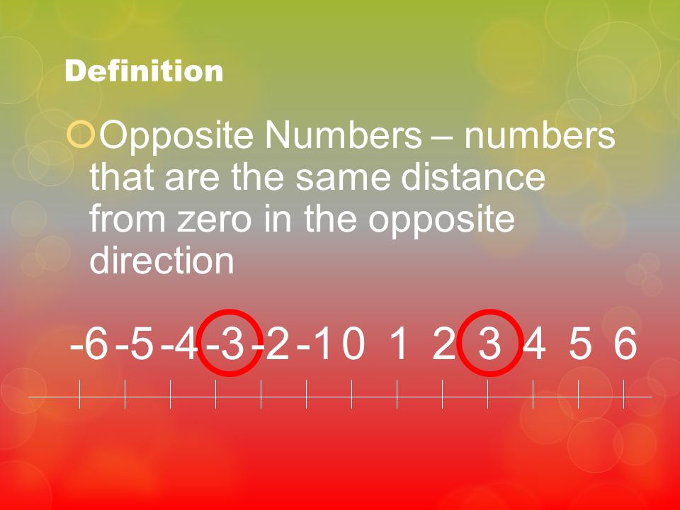 Definition Opposite Numbers – numbers that are the same distance from zero in the opposite direction.