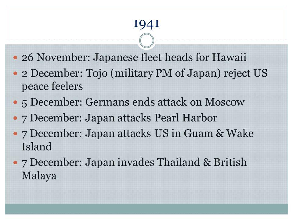 1941 26 November: Japanese fleet heads for Hawaii