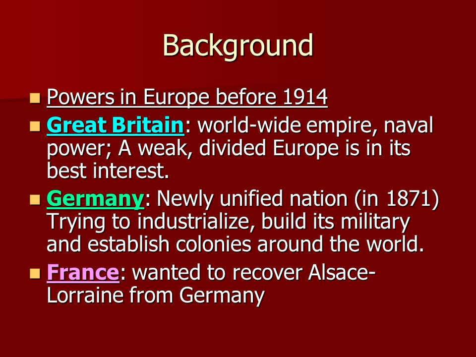 Background Powers in Europe before 1914