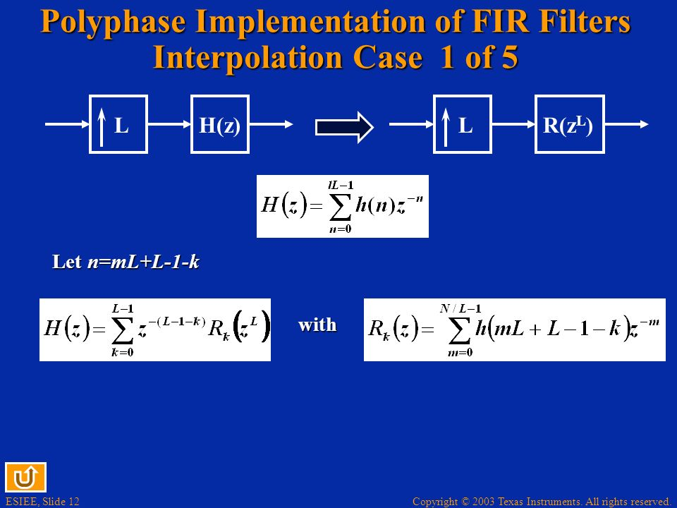Polyphase Implementation of FIR Filters Interpolation Case 1 of 5