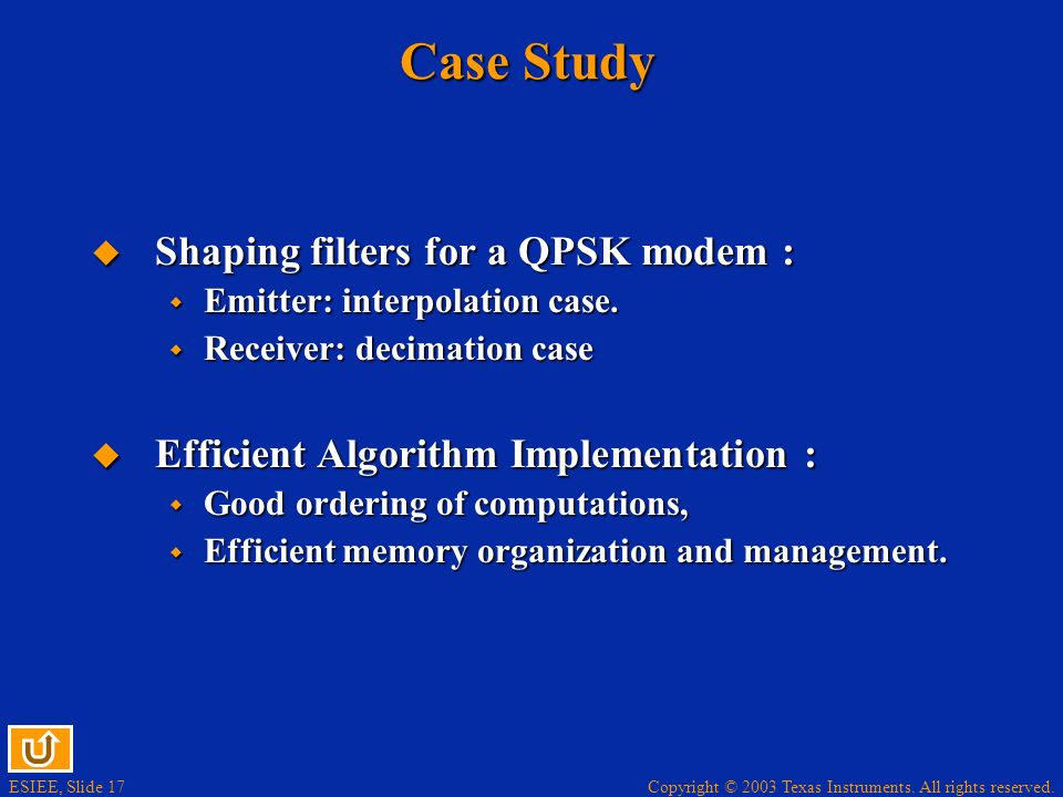Case Study Shaping filters for a QPSK modem :