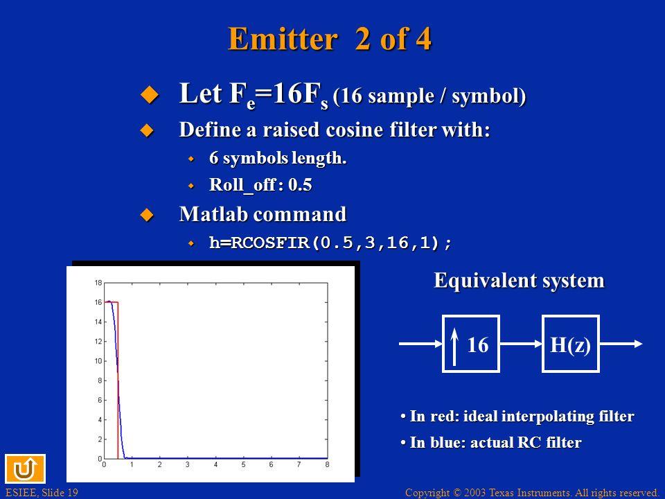 Emitter 2 of 4 Let Fe=16Fs (16 sample / symbol)