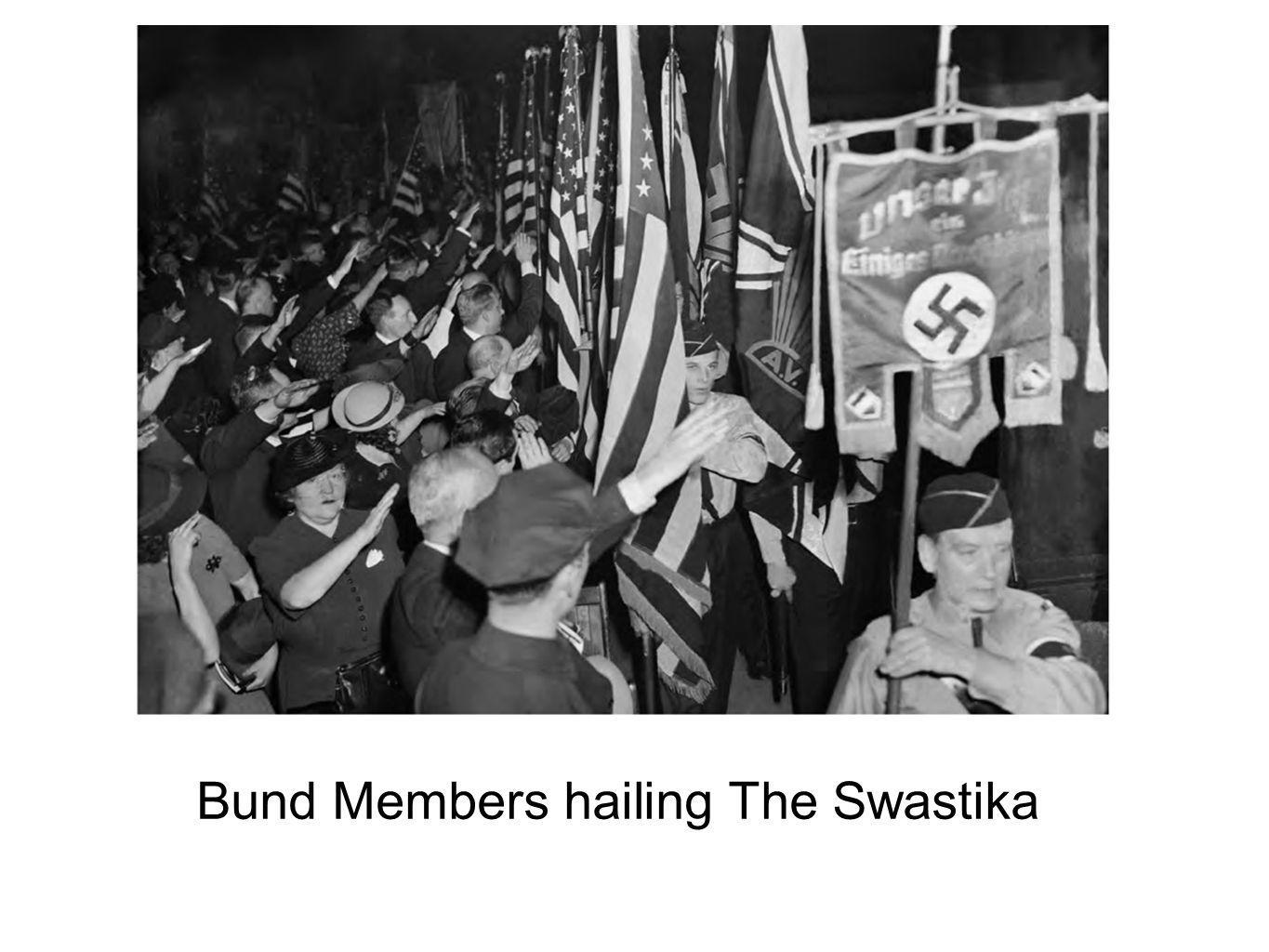 Bund Members hailing The Swastika
