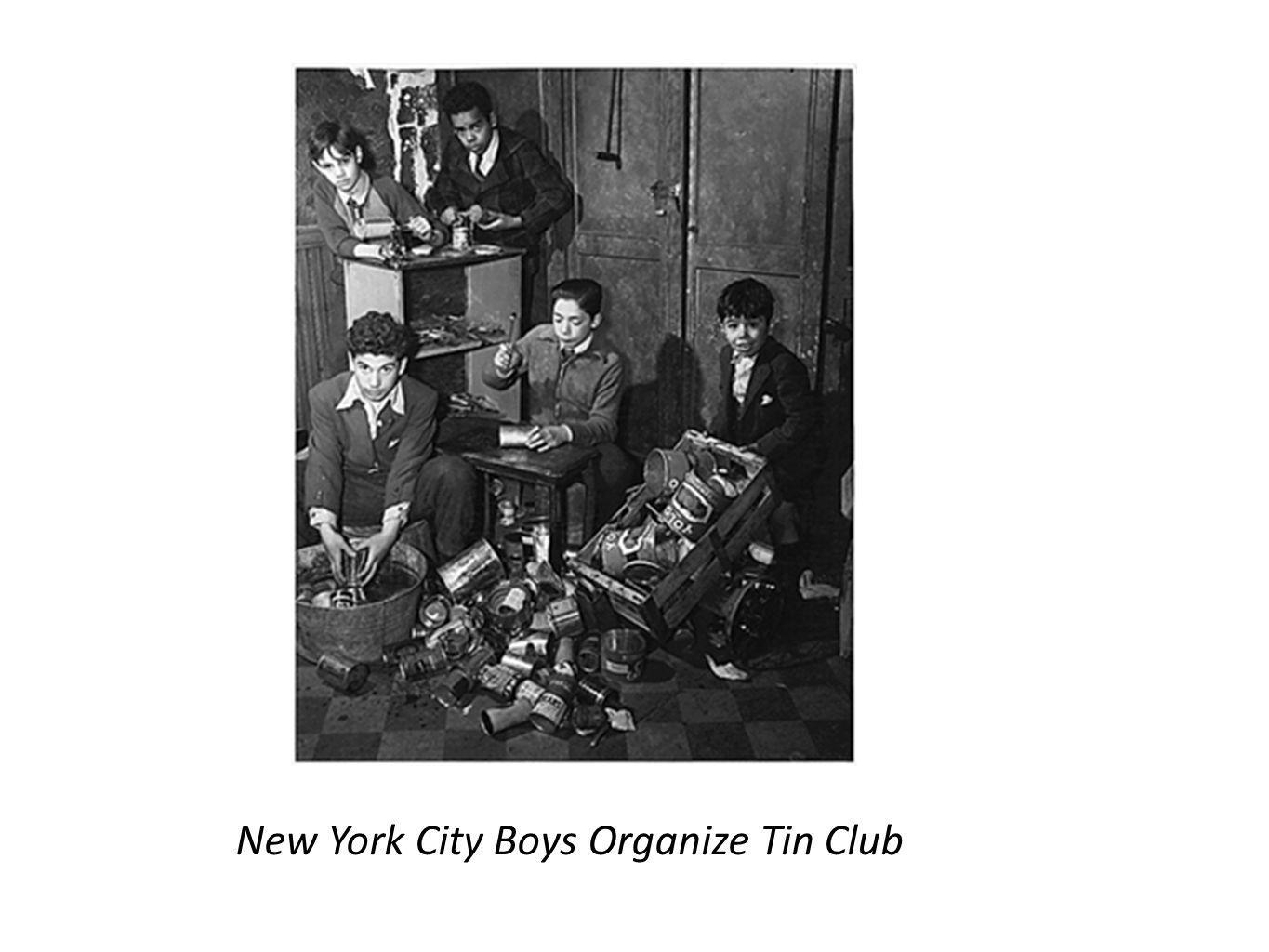 New York City Boys Organize Tin Club
