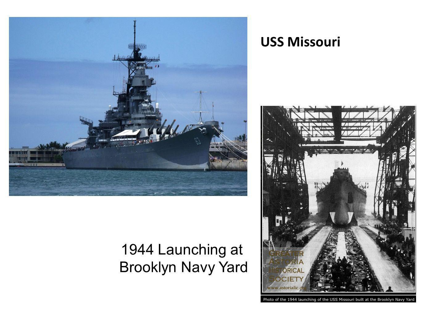 USS Missouri 1944 Launching at Brooklyn Navy Yard