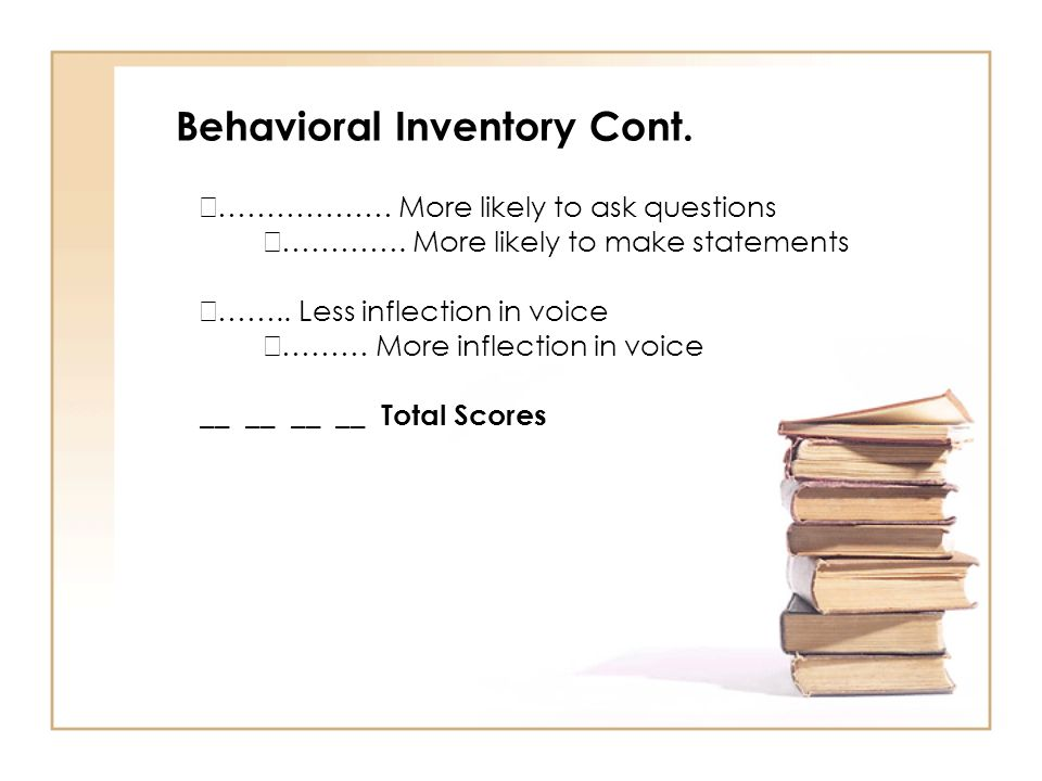 Behavioral Inventory Cont.