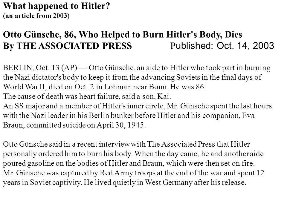 What happened to Hitler