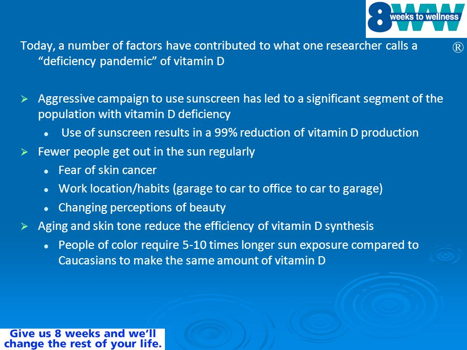 Today, a number of factors have contributed to what one researcher calls a deficiency pandemic of vitamin D