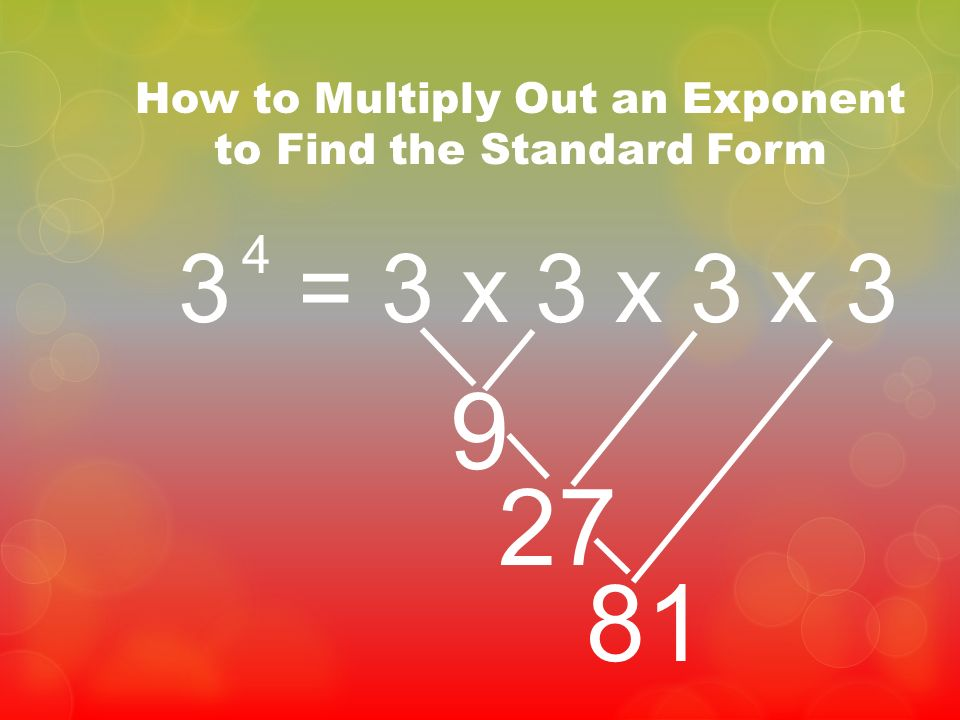 How to Multiply Out an Exponent to Find the Standard Form