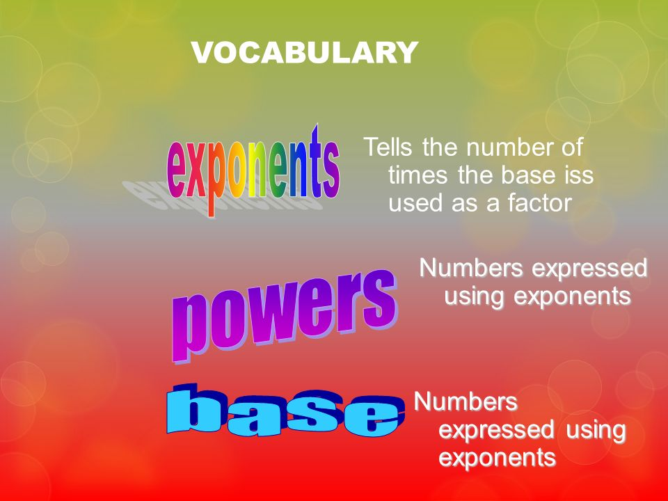 exponents powers base VOCABULARY