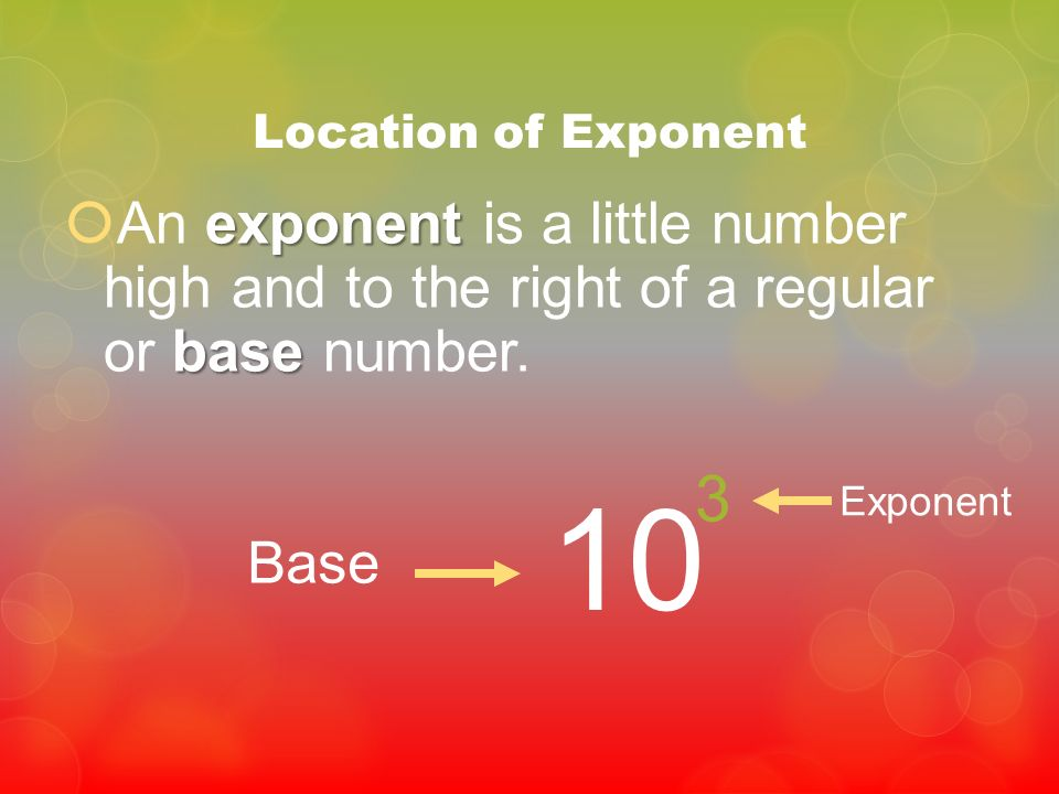 Location of Exponent An exponent is a little number high and to the right of a regular or base number.