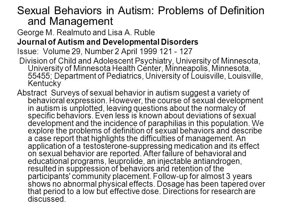 Sexual Behaviors in Autism: Problems of Definition and Management