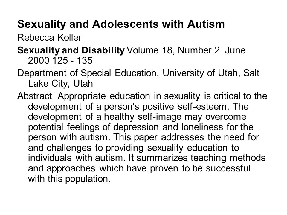 Sexuality and Adolescents with Autism