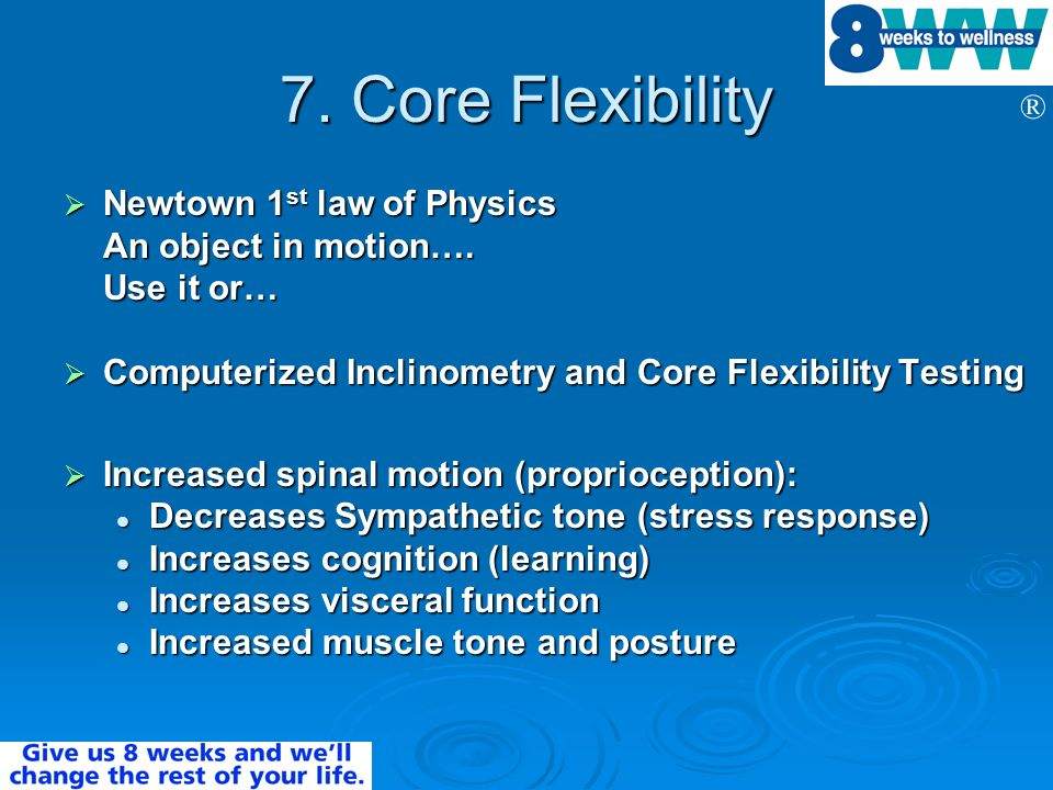 7. Core Flexibility Newtown 1st law of Physics An object in motion….