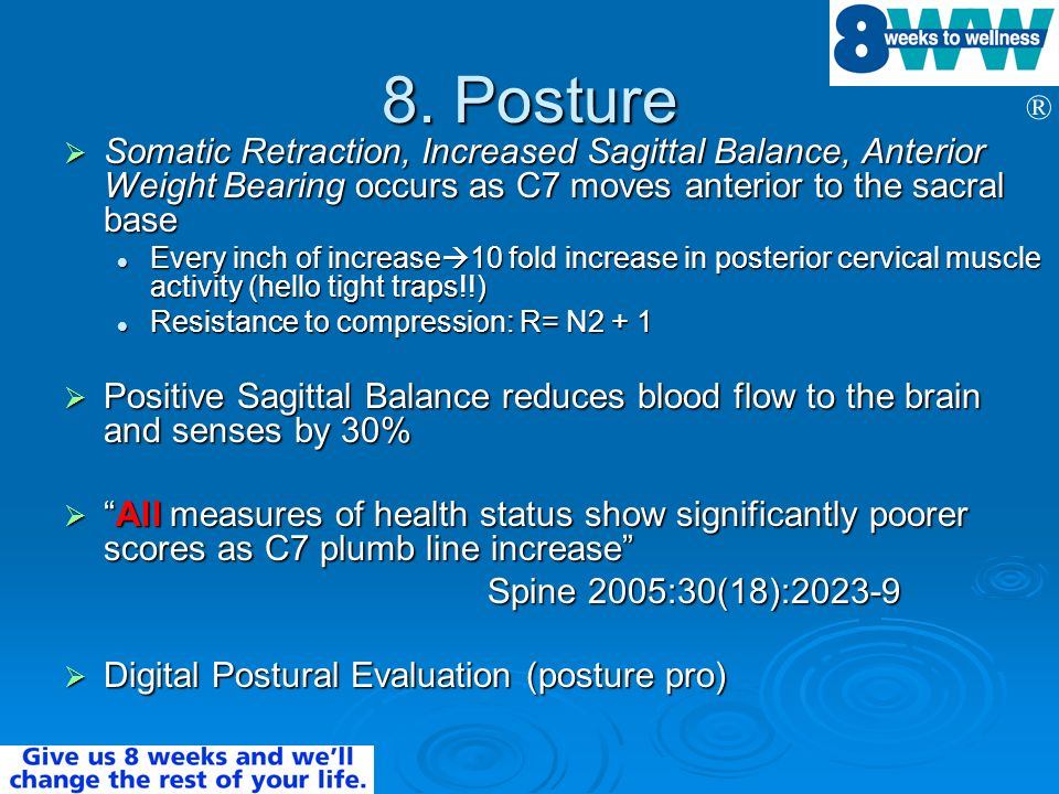 8. Posture Somatic Retraction, Increased Sagittal Balance, Anterior Weight Bearing occurs as C7 moves anterior to the sacral base.