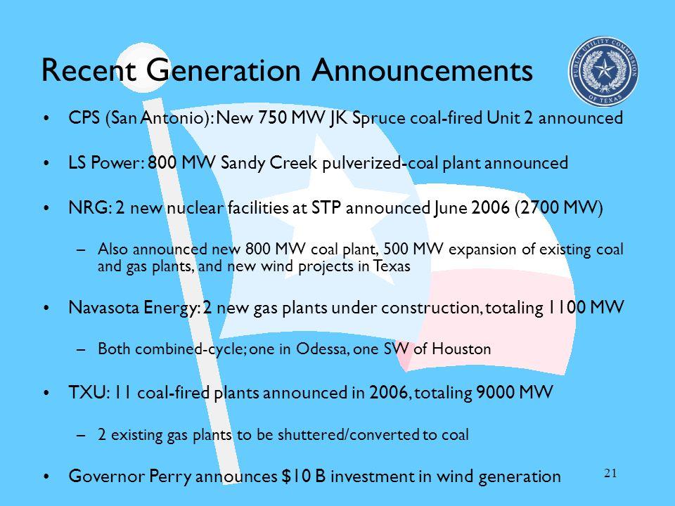 Recent Generation Announcements