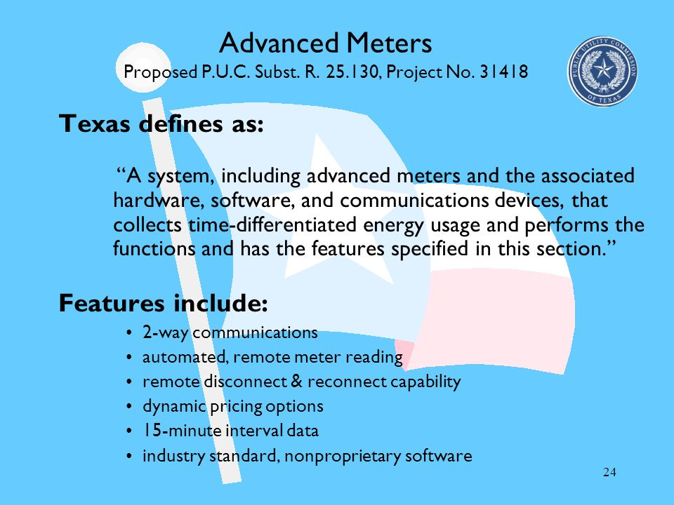 Advanced Meters Proposed P.U.C. Subst. R. 25.130, Project No. 31418