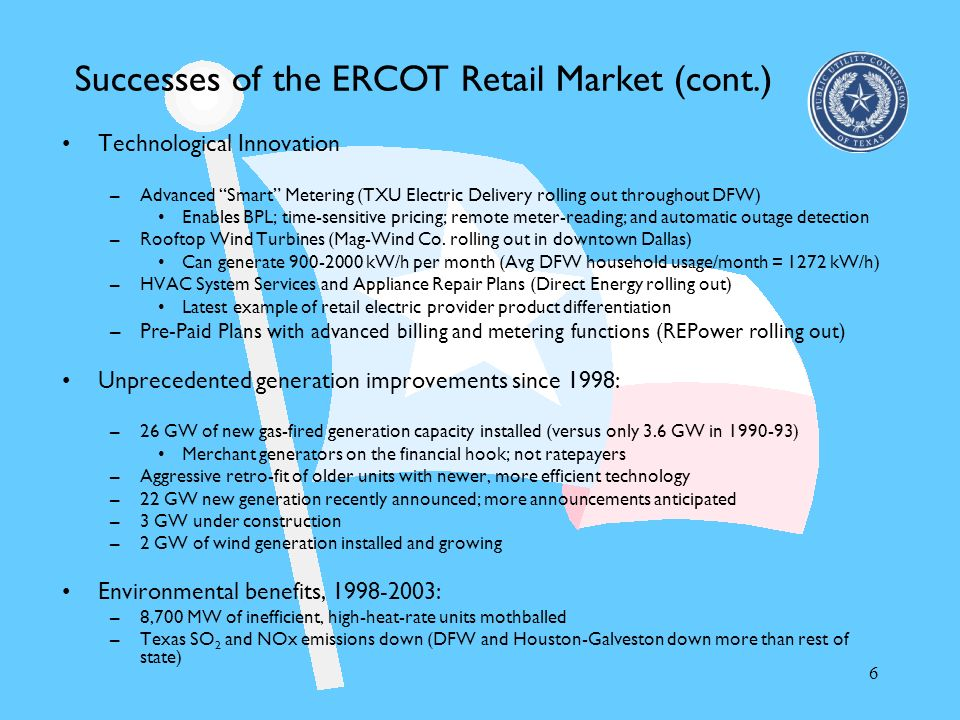Successes of the ERCOT Retail Market (cont.)