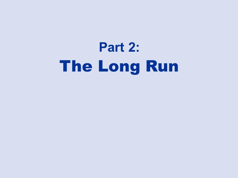 Part 2: The Long Run