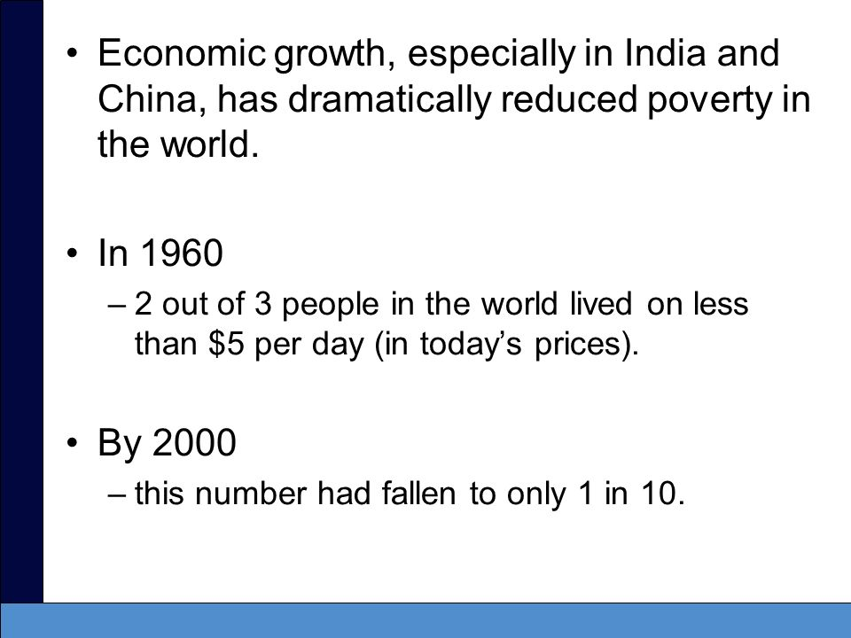 Economic growth, especially in India and China, has dramatically reduced poverty in the world.