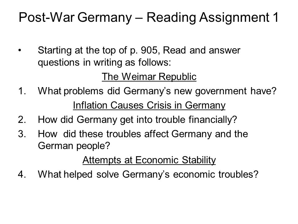Post-War Germany – Reading Assignment 1