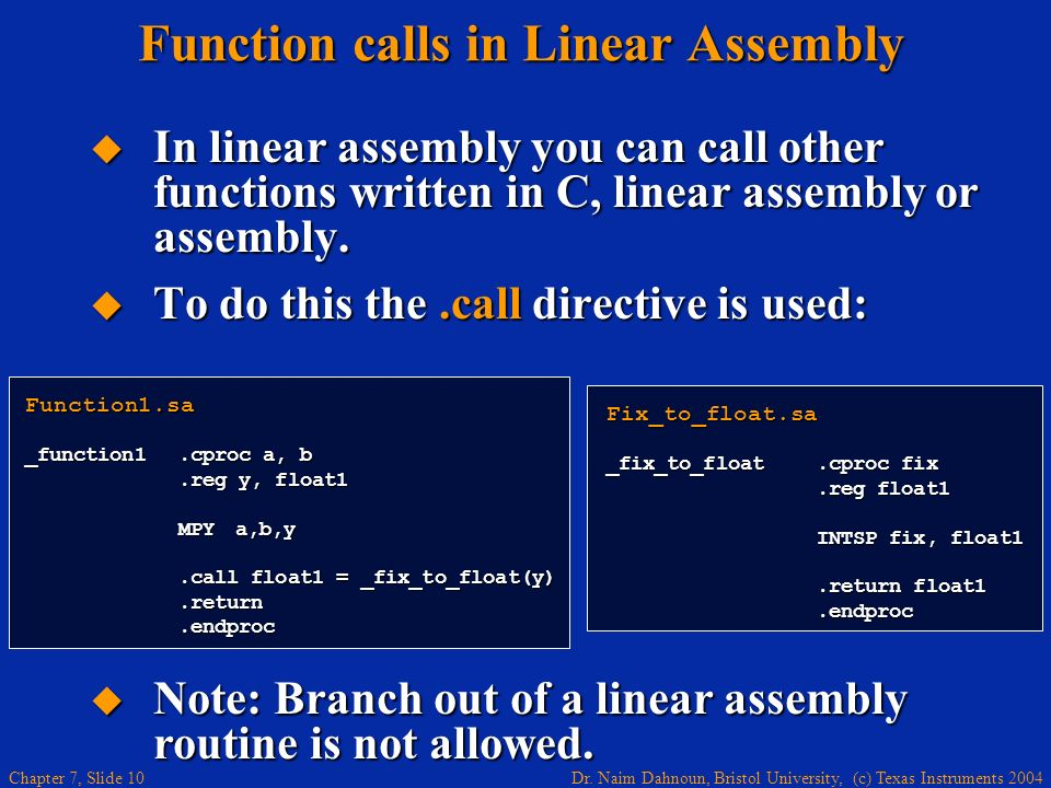 Function calls in Linear Assembly