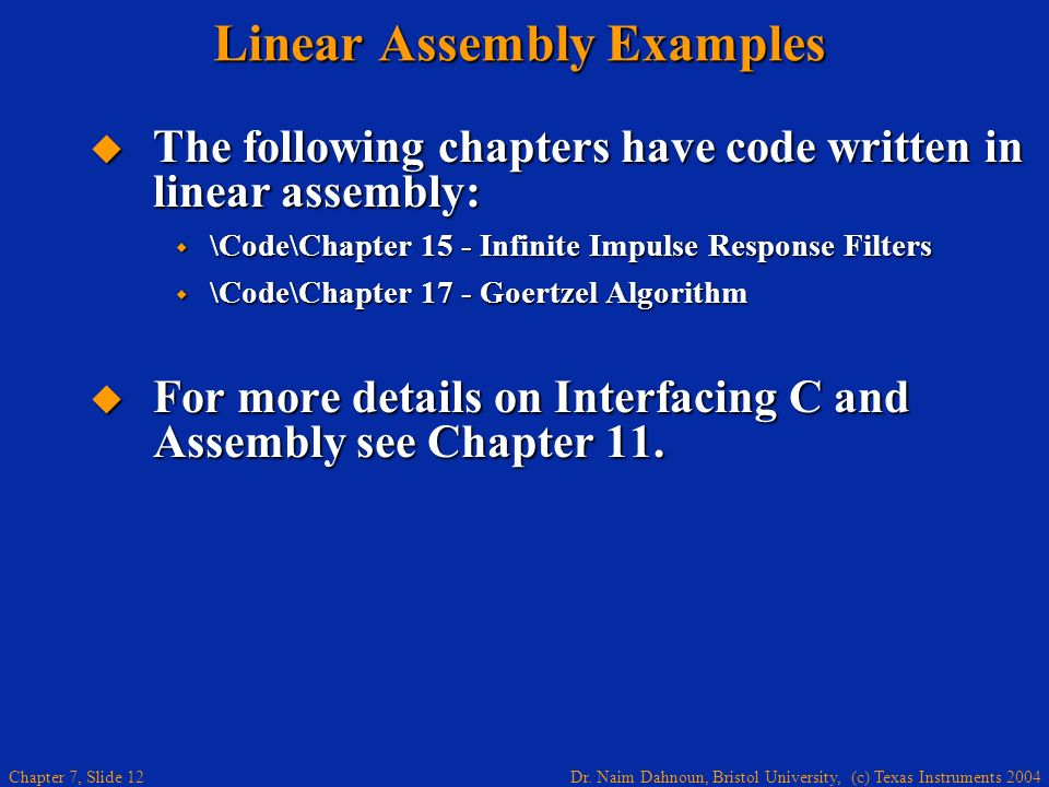 Linear Assembly Examples