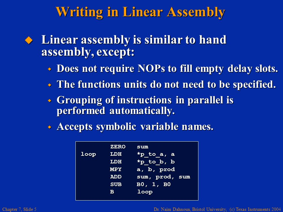 Writing in Linear Assembly
