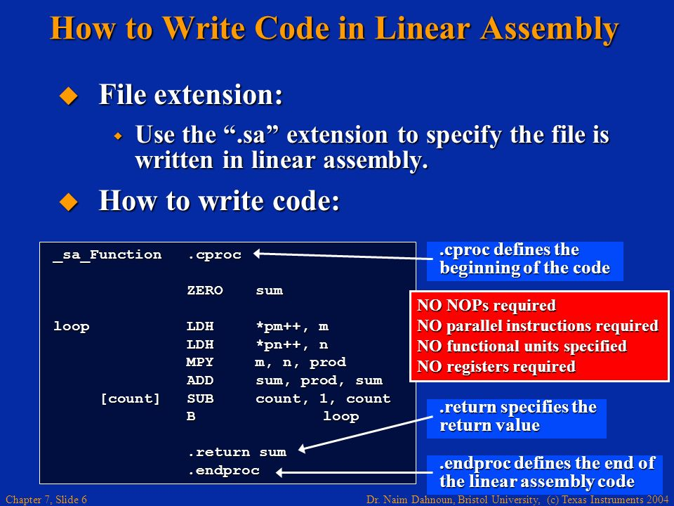 How to Write Code in Linear Assembly