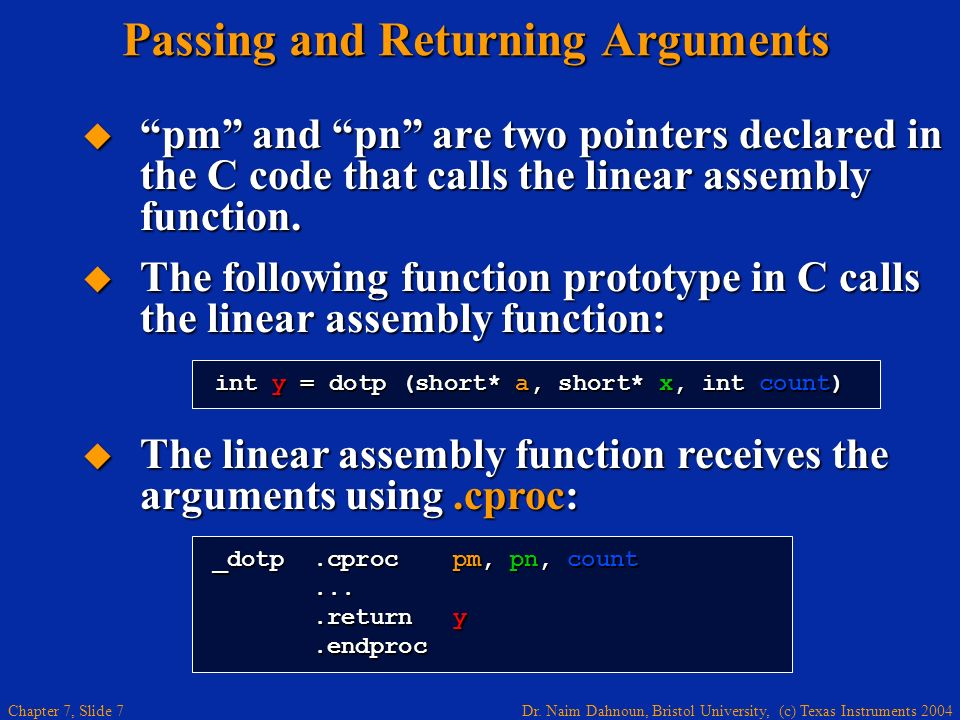 Passing and Returning Arguments