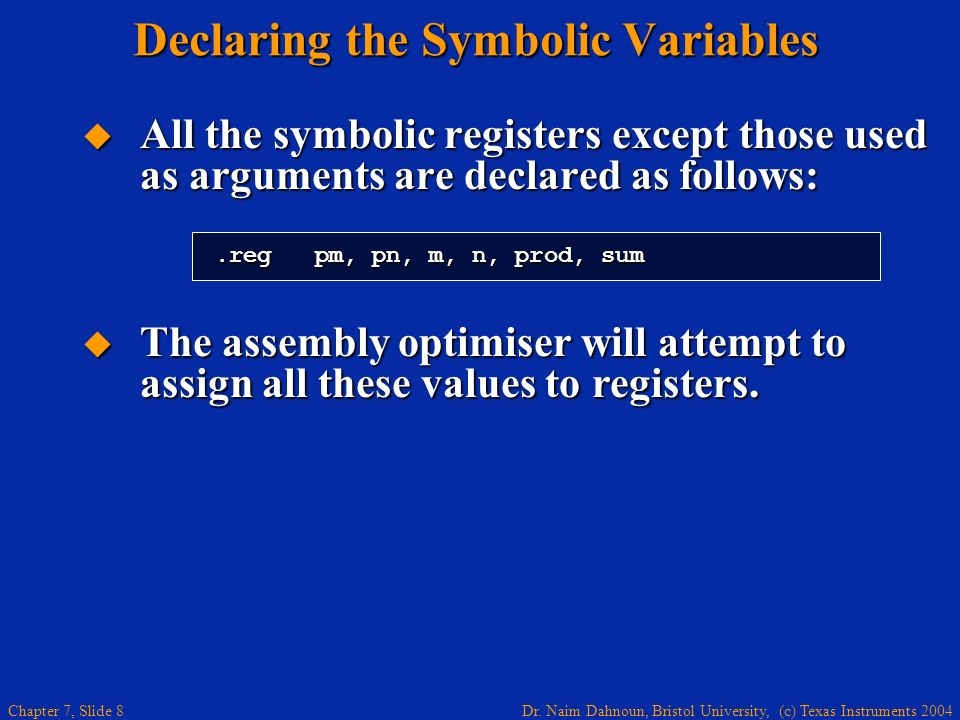 Declaring the Symbolic Variables