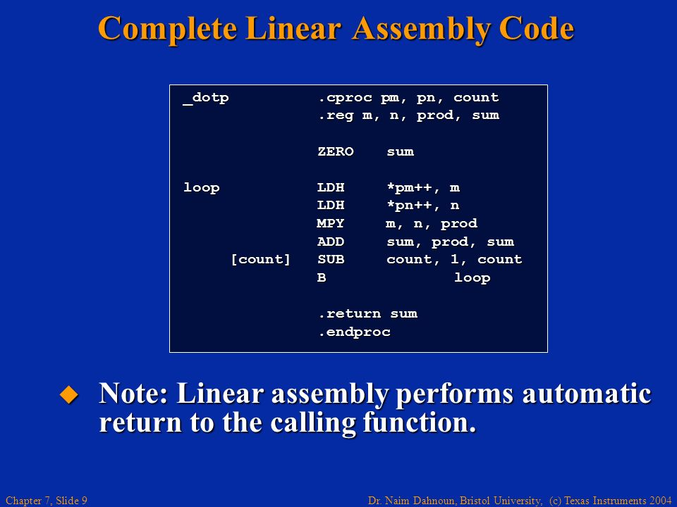 Complete Linear Assembly Code