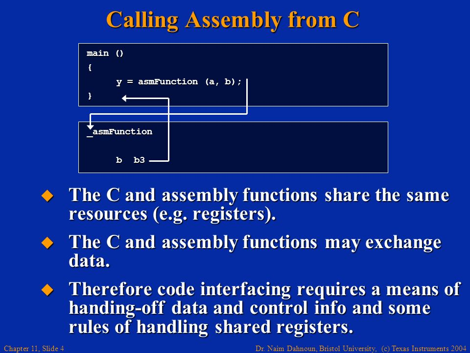 Calling Assembly from C