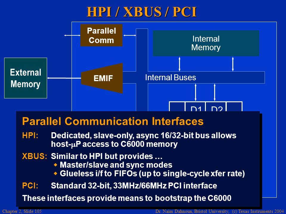 HPI / XBUS / PCI Parallel Communication Interfaces .D1 .M1 .L1 .S1 .D2