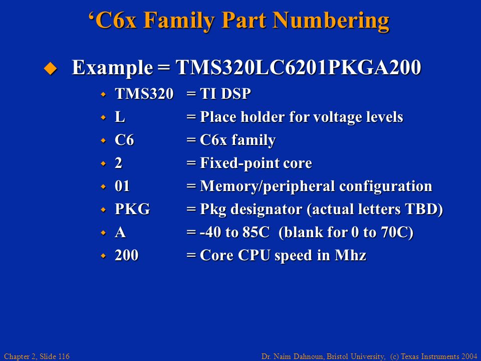 'C6x Family Part Numbering