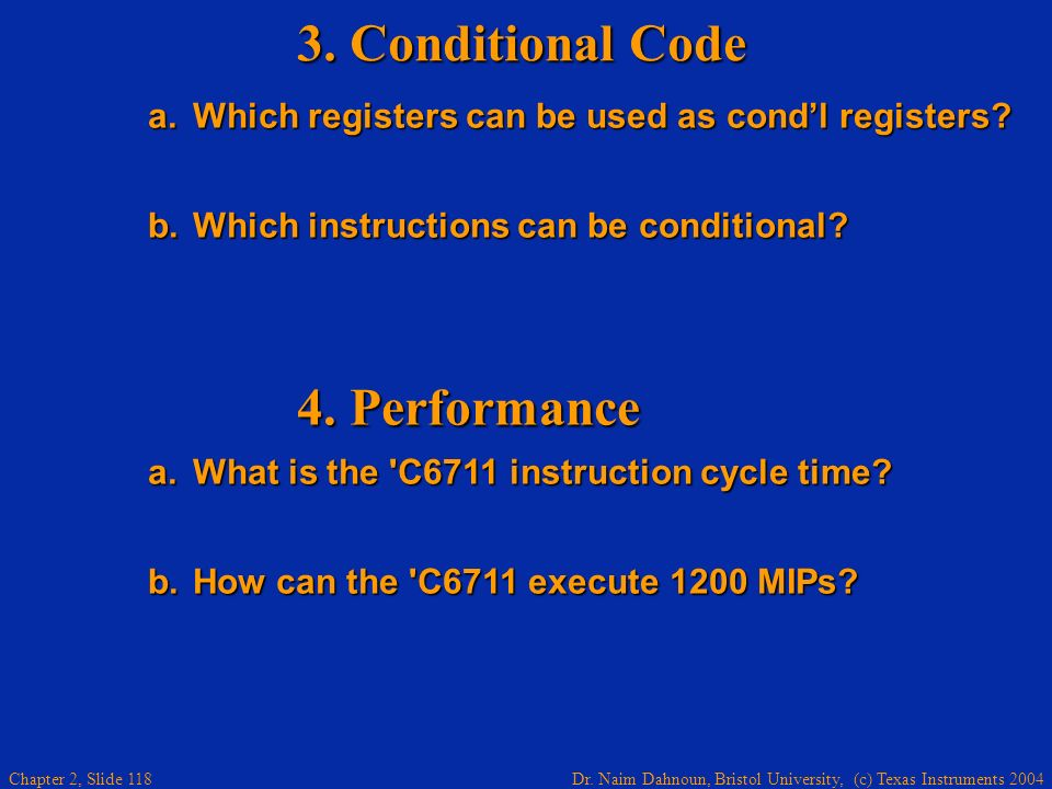 3. Conditional Code 4. Performance