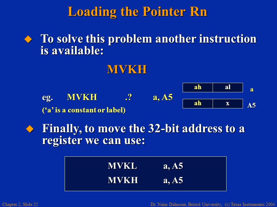 Loading the Pointer Rn To solve this problem another instruction is available: MVKH. ah. x. al.