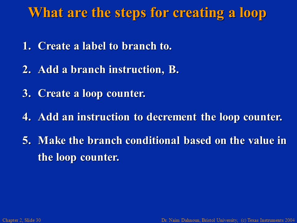 What are the steps for creating a loop