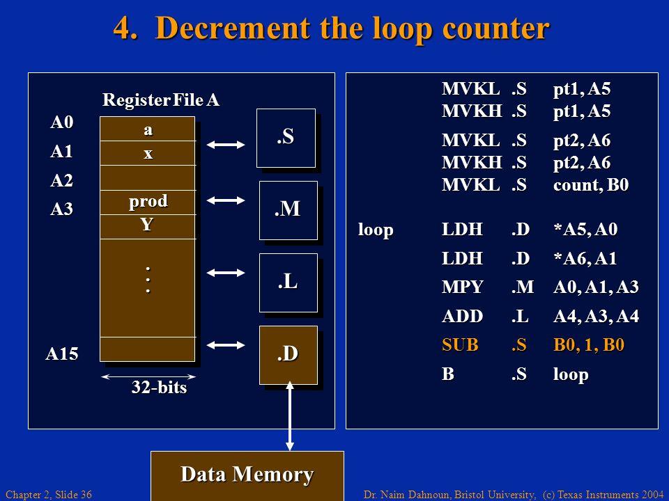 4. Decrement the loop counter