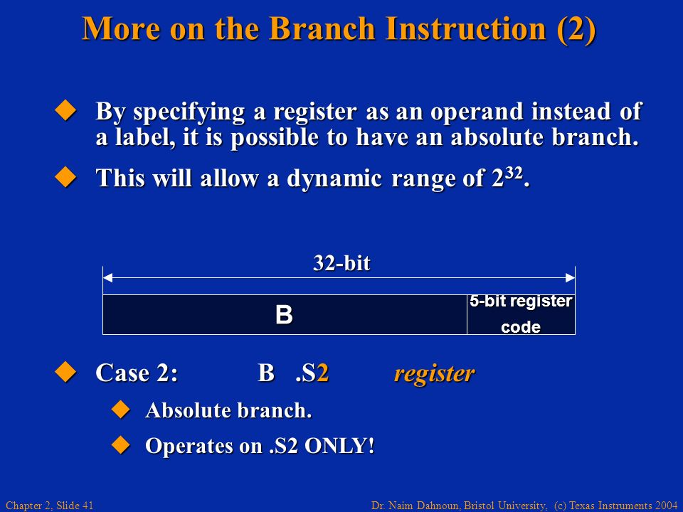 More on the Branch Instruction (2)