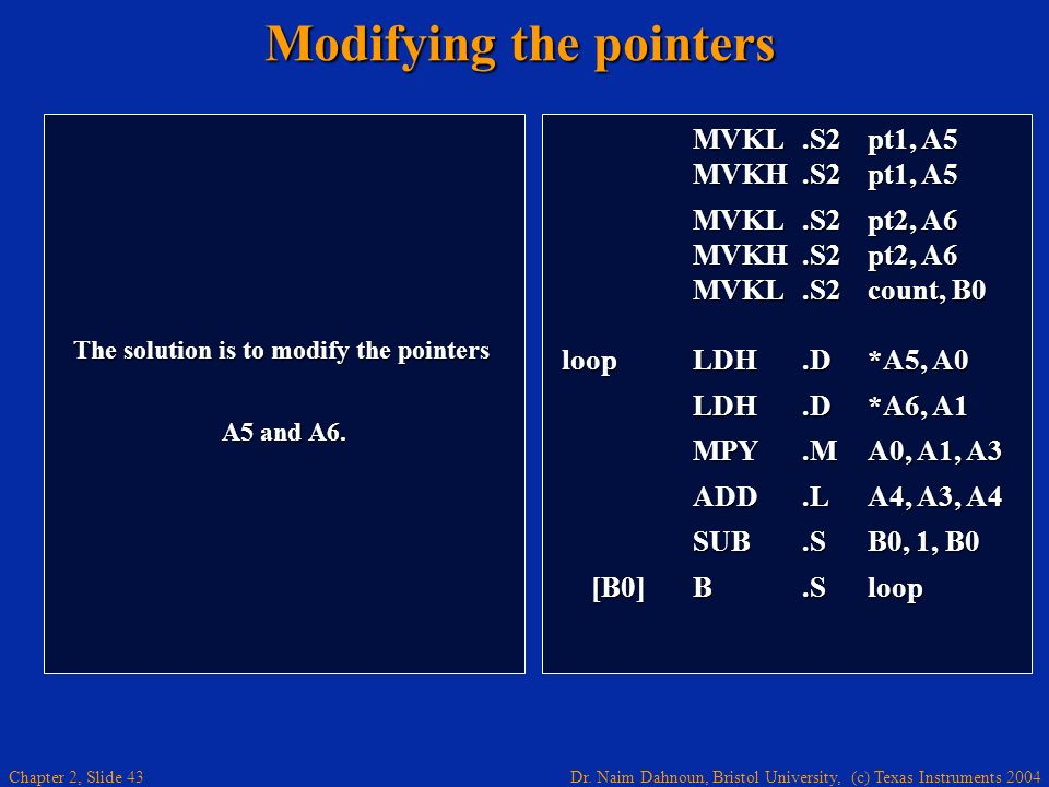 Modifying the pointers