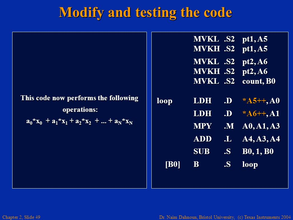 Modify and testing the code
