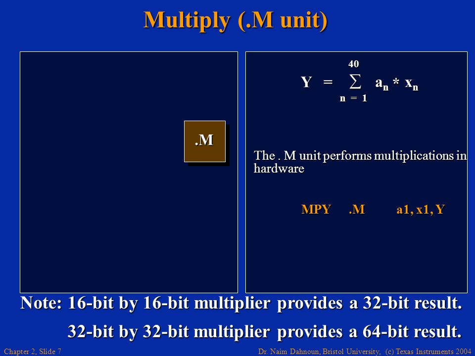 Multiply (.M unit) Y = 40. an xn. n = 1. * .M. The . M unit performs multiplications in hardware.