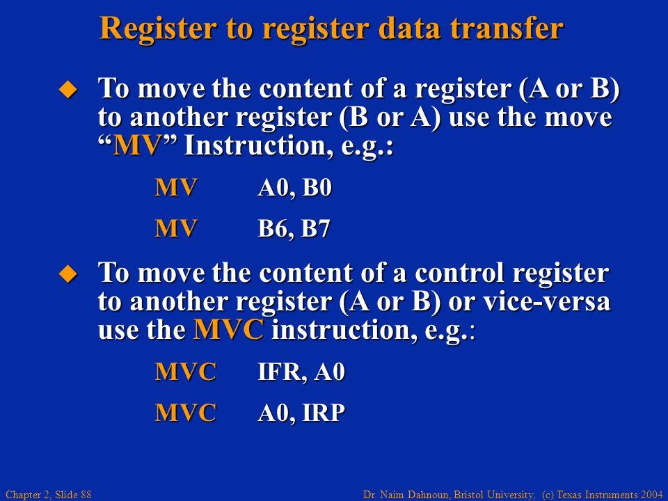 Register to register data transfer