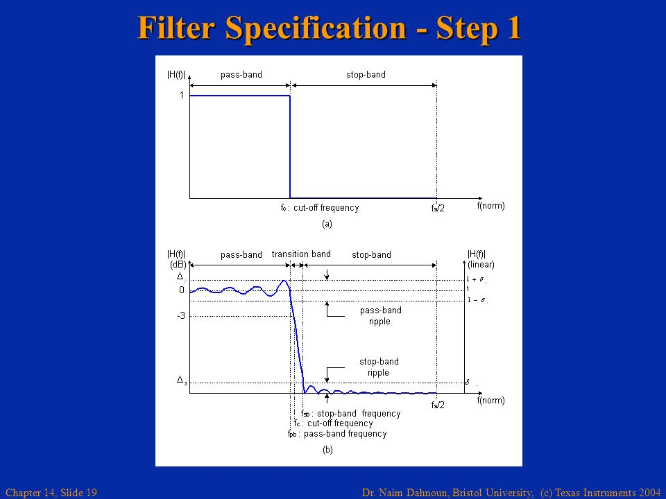 Filter Specification - Step 1