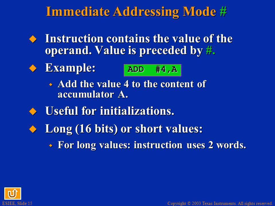 Immediate Addressing Mode #