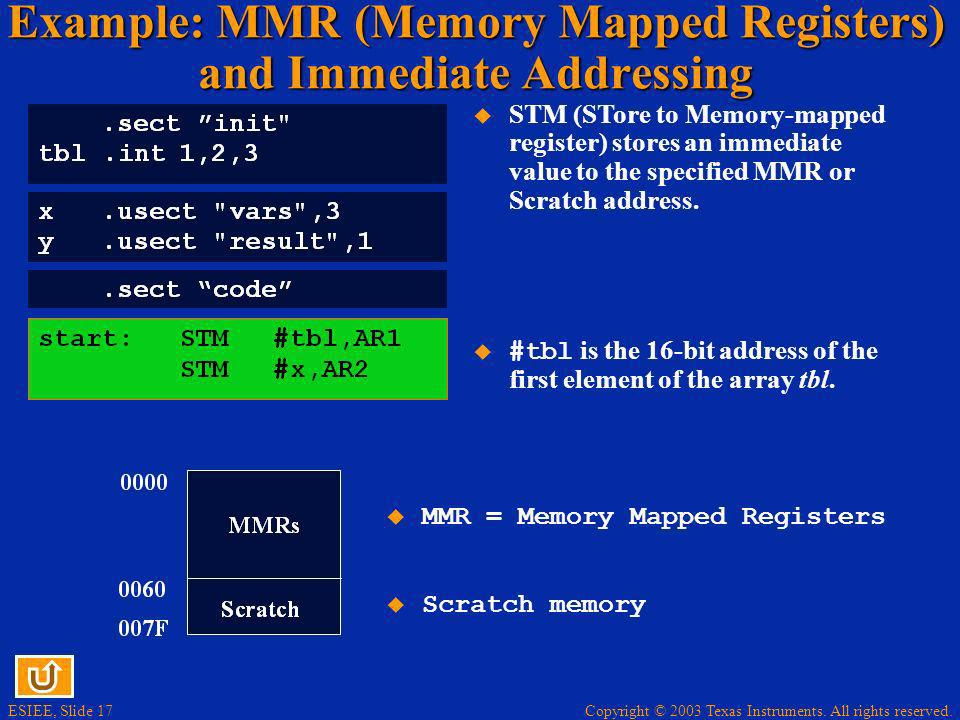 Example: MMR (Memory Mapped Registers) and Immediate Addressing