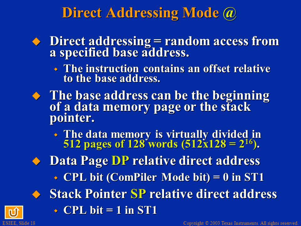 Direct Addressing Mode @