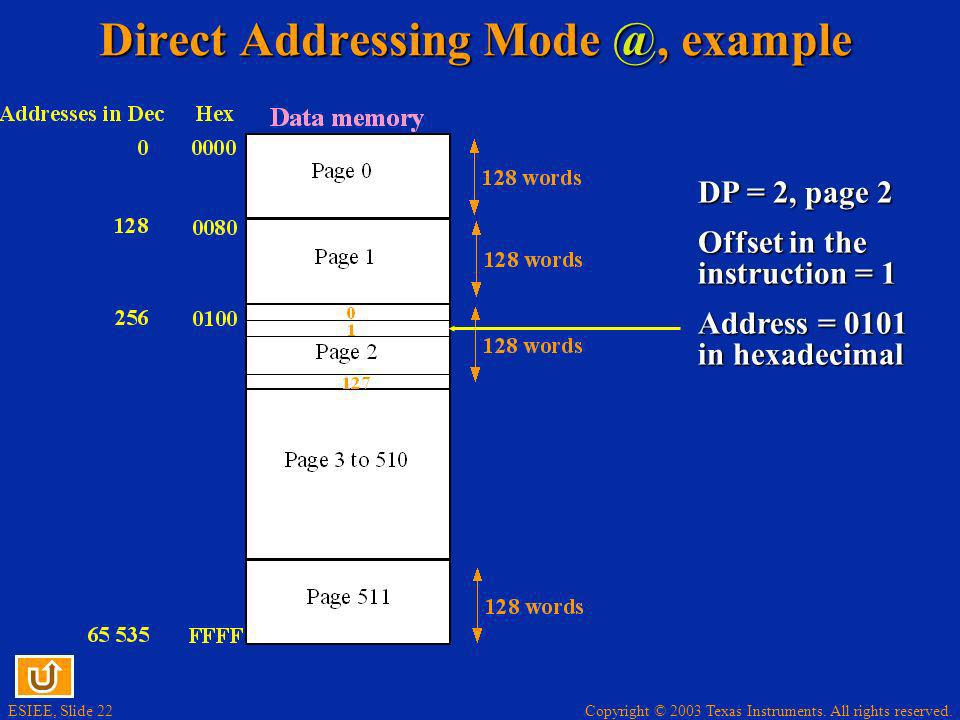 Direct Addressing Mode @, example